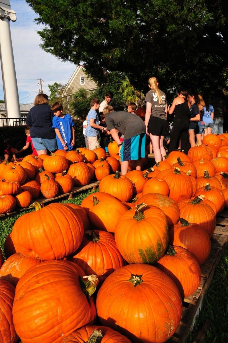 More than 2,250 pumpkins were unloaded at Carteret Street Methodist Church in Beaufort on Sept. 25.