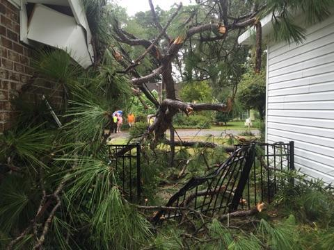 Wind and the resulting debris damaged this home on Wilson Drive in Beaufort. Photo courtesy of the Beaufort Fire Department.
