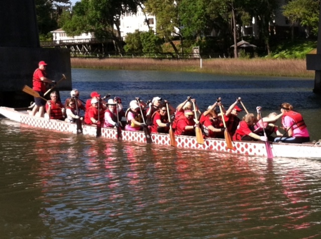 Maureen Conroy is second row right with her fellow DragonBoat team members.