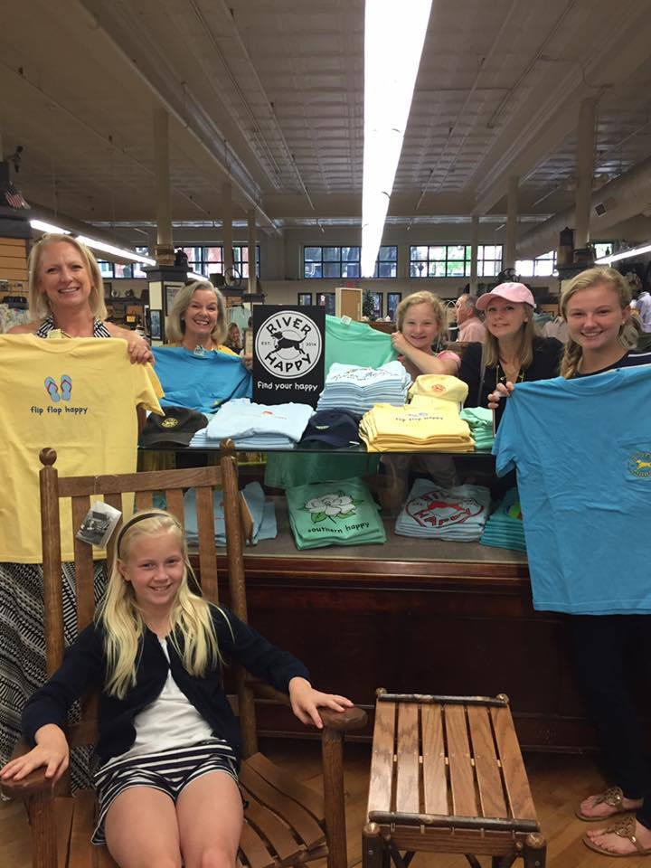 The River Happy team shows off the brand's new display at Grayco Hardware and Home.