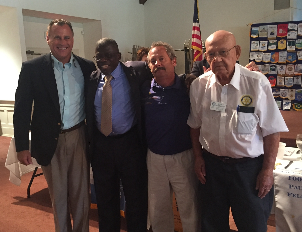 """The Rotary Club of Beaufort welcomed new members at its Aug. 24 meeting. From left are Rotary Club President Willie Mack Stansell; new members the Rev. Dr. John C. Dortch and Wayne Grabenbauer Jr.; and Wayne """"Gabby"""" Grabenbauer Sr., who sponsored both new members."""