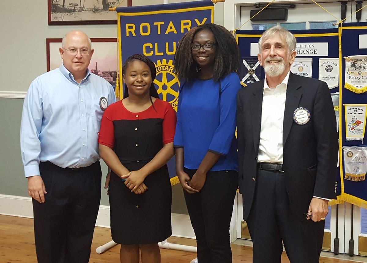 The Bluffton Rotary awarded two scholarships for student involvement in the USCB Rotaract Club at its Sept. 14 meeting. Mahogany Hickman and Mariah Rogers were honored for their involvement as president and vice president of the Rotaract club at USCB. Rotaract is the college division of Rotary International.  Both students were leaders in the development of the Rotaract Club at USCB, which is committed to community service.