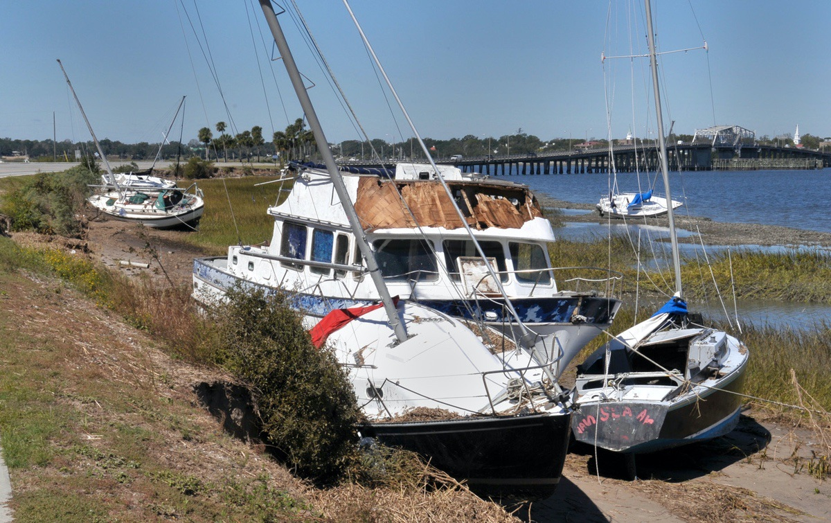 Sailboats and at least one power boat broke loose from their moorings and washed up on the banks of Factory Creek on Lady's Island. Photo by Bob Sofaly.