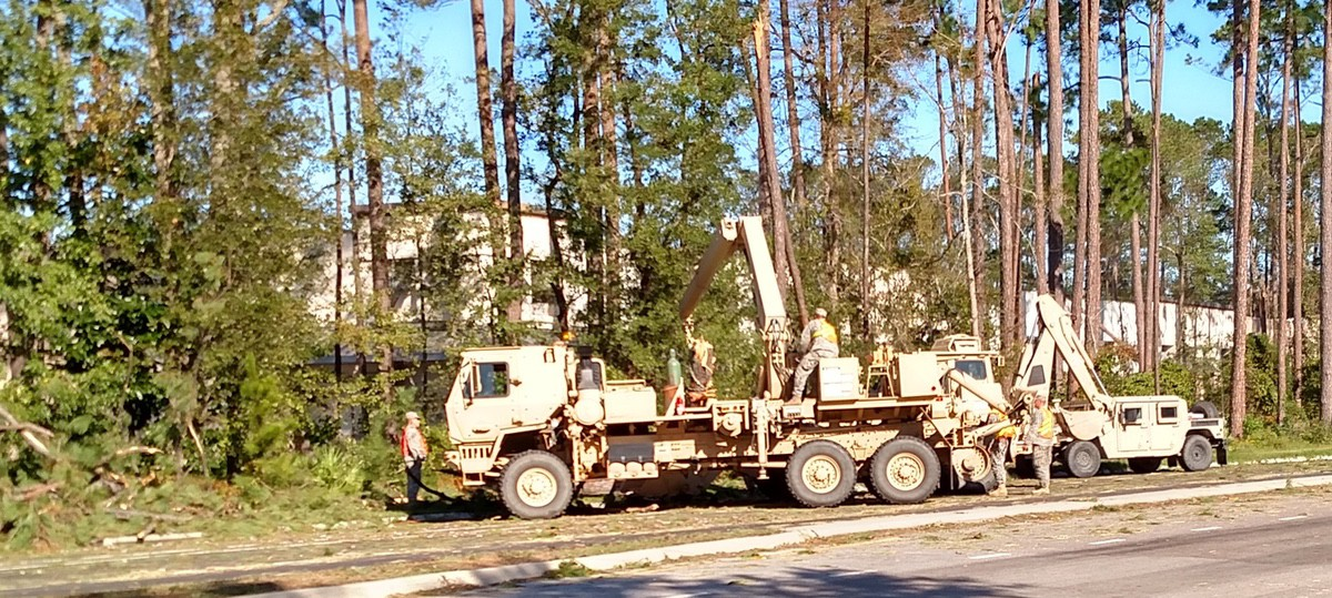 National Guard troops help in the cleanup effort on S.C. 46 near U.S. 278 in Bluffton. Photo by Sally Mahan.