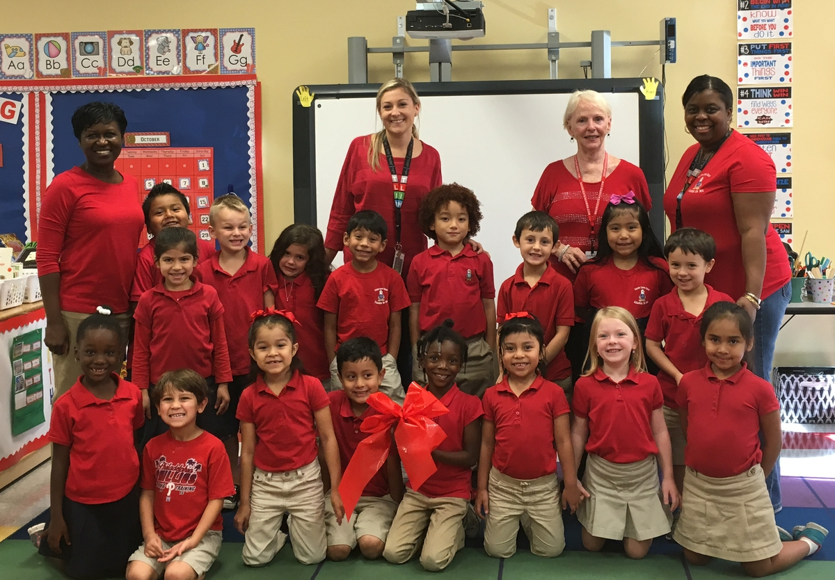 """Hannah Murphy's kindergarten class was honored for being all """"Red Out"""" for Red Ribbon Week."""