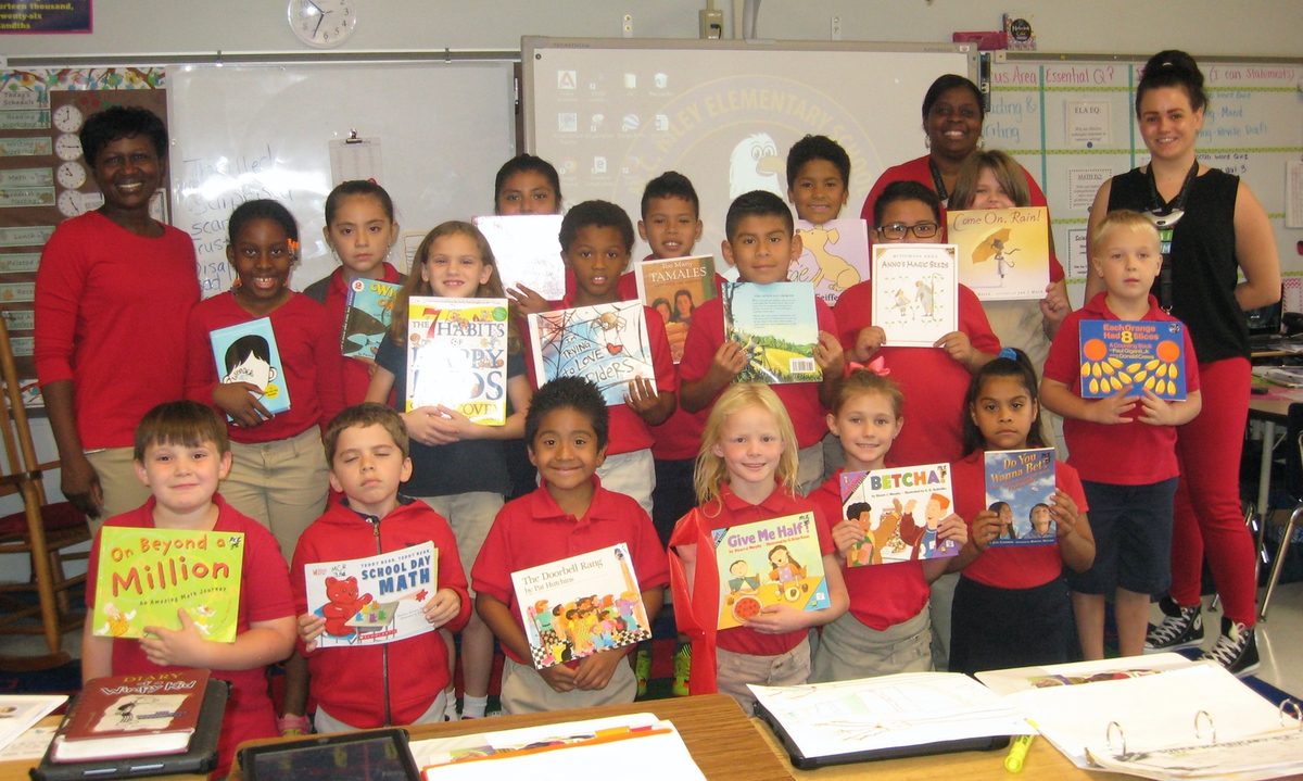 Samantha Wood's third-grade class read the most minutes during the school's Red Ribbon Week Read-a-thon.