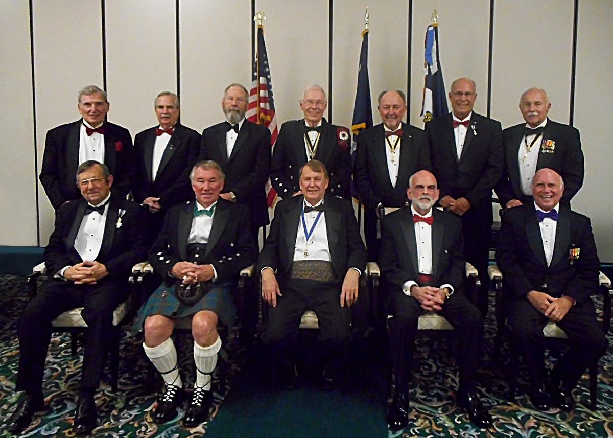 In the front row from left are Tom Wilson, registrar of the Gov. Paul Hamilton Chapter of the Sons of the American Revolution; Frank Gibson, vice president; Claude Dinkins, president; Paul Steele, secretary; and Dr. Bill Sammons, treasurer and chaplain. In the back row from left are Don Starkey, webmaster; Maj. John Simpson, military awards; Dr. Tom Burnett, historian; Wayne Cousar, South Carolina Society president and education chairman; Michael Keyserling, color sergeant; Ian Bennett, CAR liaison; and Jody Henson, Eagle Scout scholarship and public relations. Photo by Sandi Atkins.
