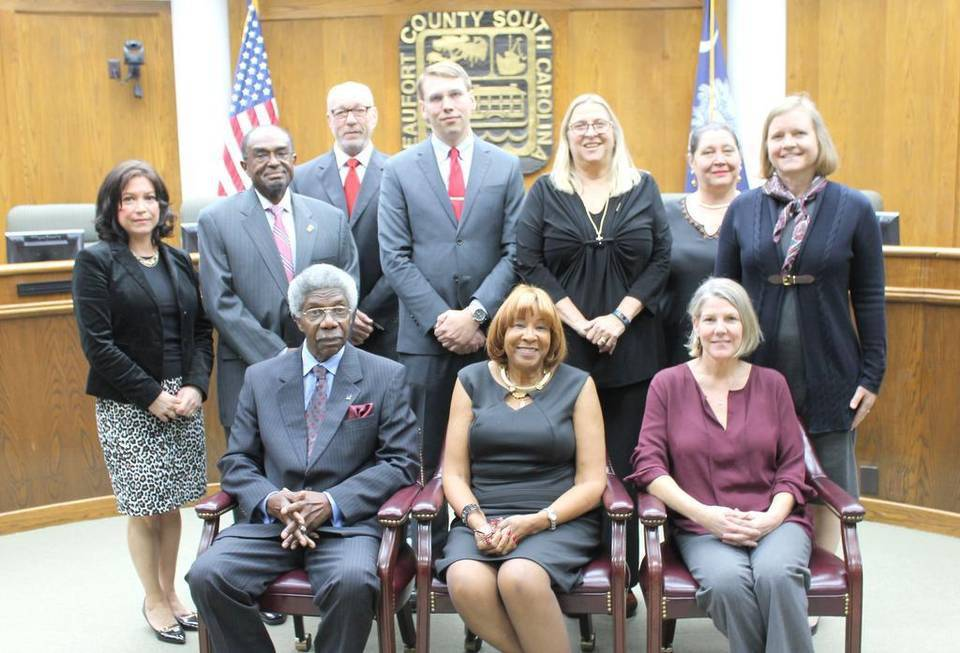 Photo above: The Beaufort County School Board, from left in the front row, are Vice Chair Earl Campbell, Chairwoman Patricia Felton-Montgomery and Secretary Geri Kinton. Second row from left are JoAnn Orischak, Bill Payne, David Striebinger, Joseph Dunkle, Mary Cordray, Evva Anderson and Christina Gwozdz.