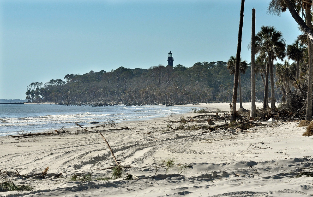 The storm eroded both the primary and secondary dune system at Hunting Island State Park.