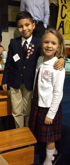 Holy Trinity third-grader, Michael Hernandez, shown here with fellow third-grader Frances Calvert, placed first in his grade level at the SCISA Regional Spelling Bee. Hernandez will advance to the SCISA State Spelling Bee.