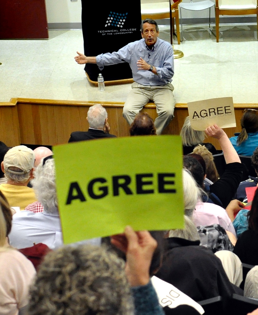 Many of those in attendance of Mark Sanford's town hall meeting found themselves in agreement with him on a few issues. Many did not.