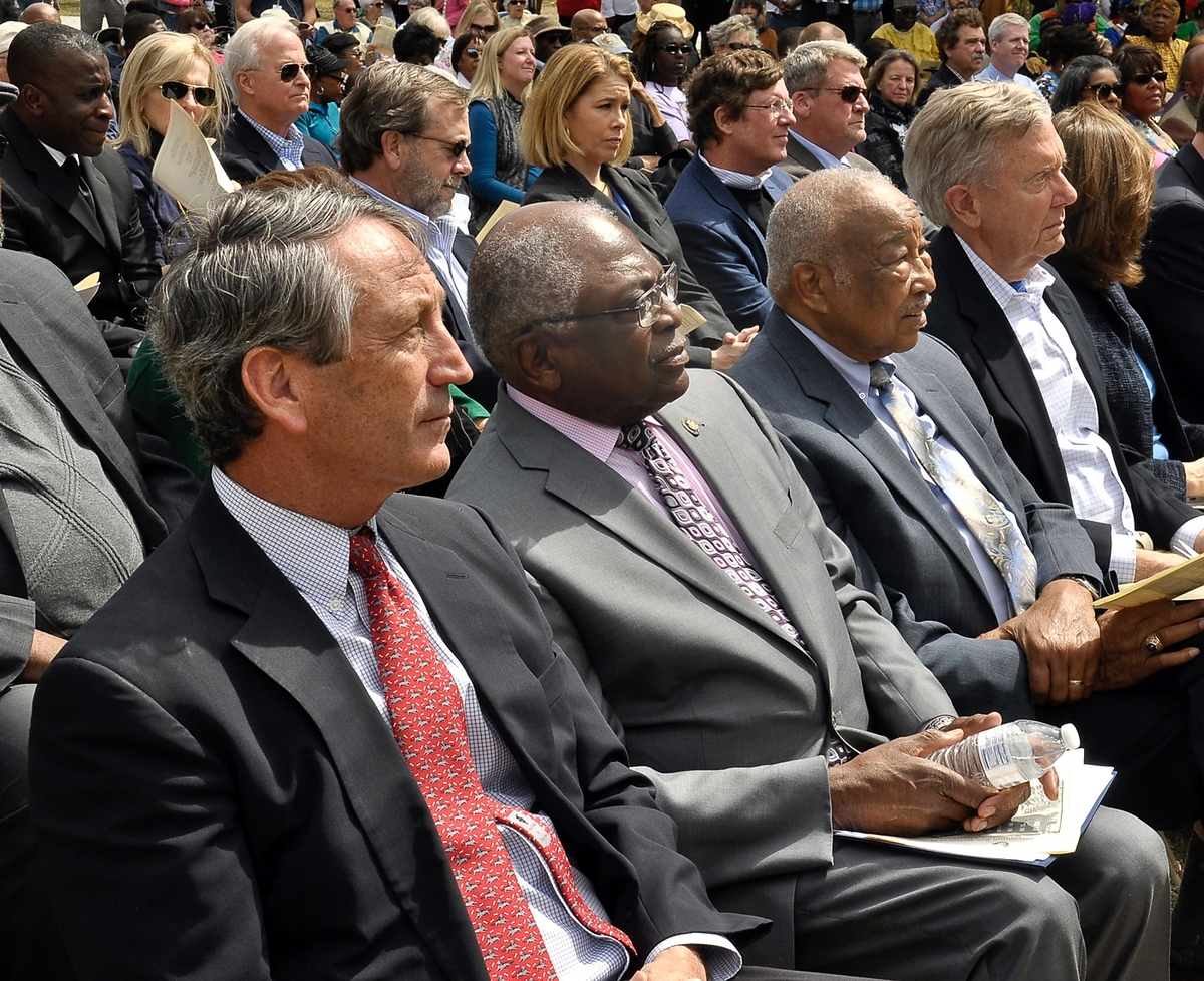 U.S. Rep. Mark Sanford, R-SC, left, U.S. Sen. James Clyburn, D-SC, Port Royal Mayor Sam Murray and former Secretary of the Interior Bruce Babbitt taking part in the unveiling ceremony on March 18 of the National Park Service Reconstruction Era National Monument at Penn Center on St. Helena Island.