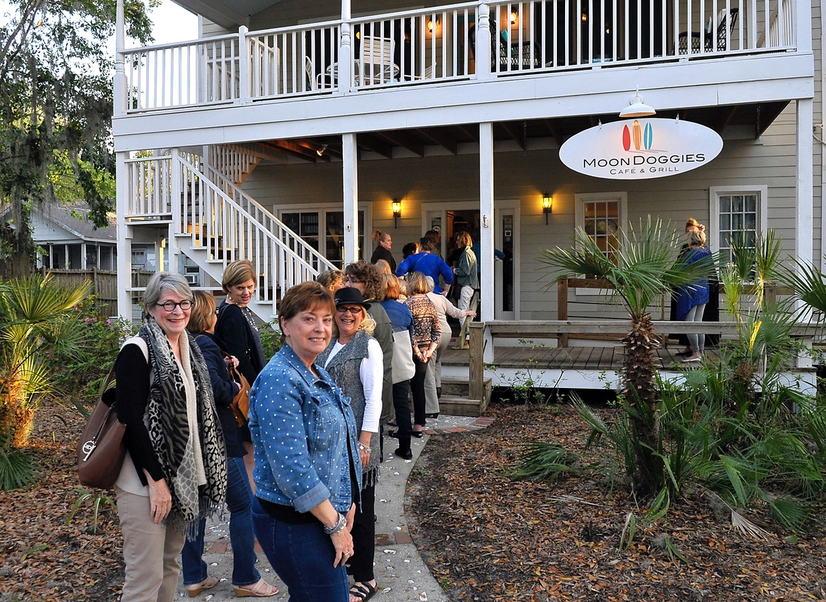 Ladies stand in line for the chance to take part in Island Girls Night Out recently at MoonDoggies in Port Royal.