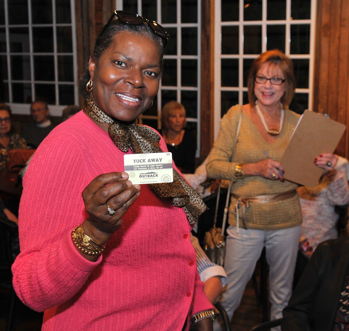 Patricia Gadsden continued her lucky streak by winning another door prize from Outback. Gadsden said she has won a door prize each time she has attended Island Girls Night Out.