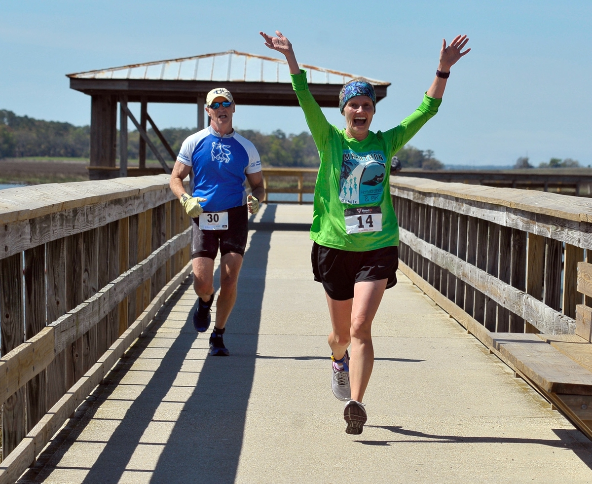 Hurricane Matthew couldn't hold the Sea Island Rotary Club down from bringing runners and paddlers a spectacular event at a different, but great, new location. The 2017 SIRC race location was held March 11 in and around Port Royal. It is usually held on Hunting Island, but was moved due to damages from the hurricane.In thephoto above: Jack Cunningham, left, and Melissa Burch run along the boar walk during the second leg of the Adventure Biathlon. Photo byBob Sofaly.