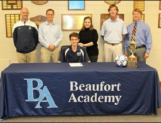 Beaufort Academy senior Ryan Muniz signed to play soccer for the University of Mary Washington last week. Photo courtesy of Beaufort Academy.