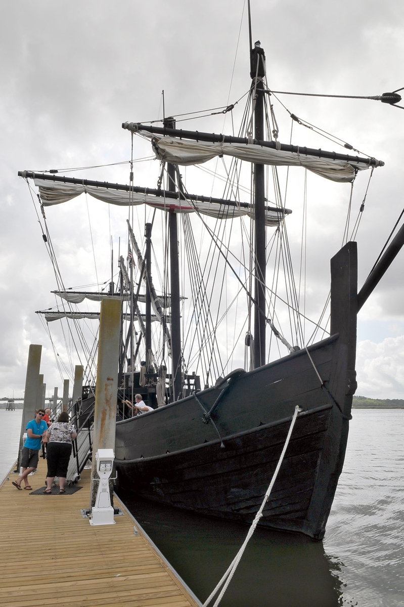 Replica ships of Columbus' Pinta, foreground, and Nina visited Beaufort last week at the Downtown Marina. Here, members of press meet some of the crew on April 19.
