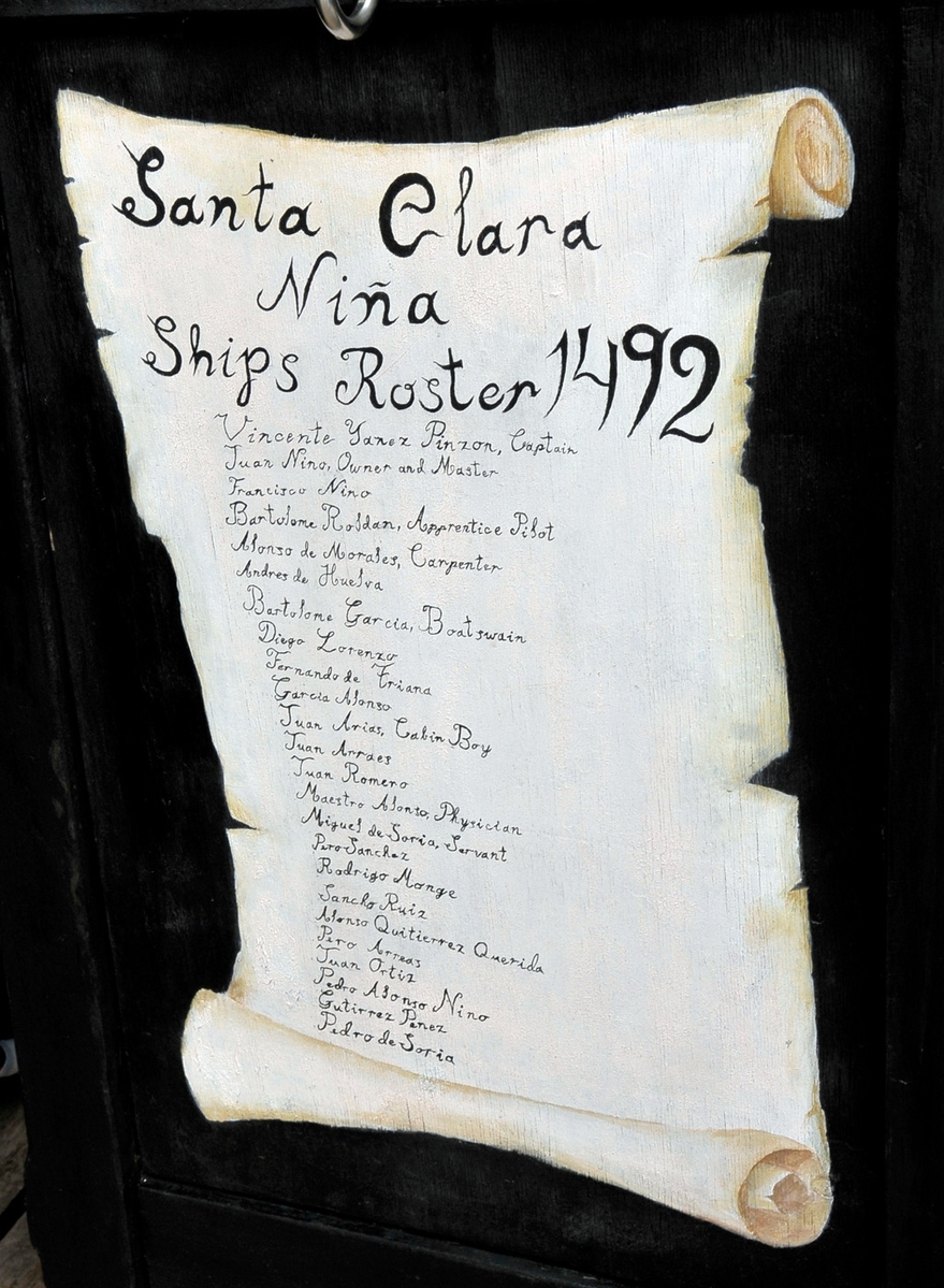 This is a replica of the Nina's crew roster.