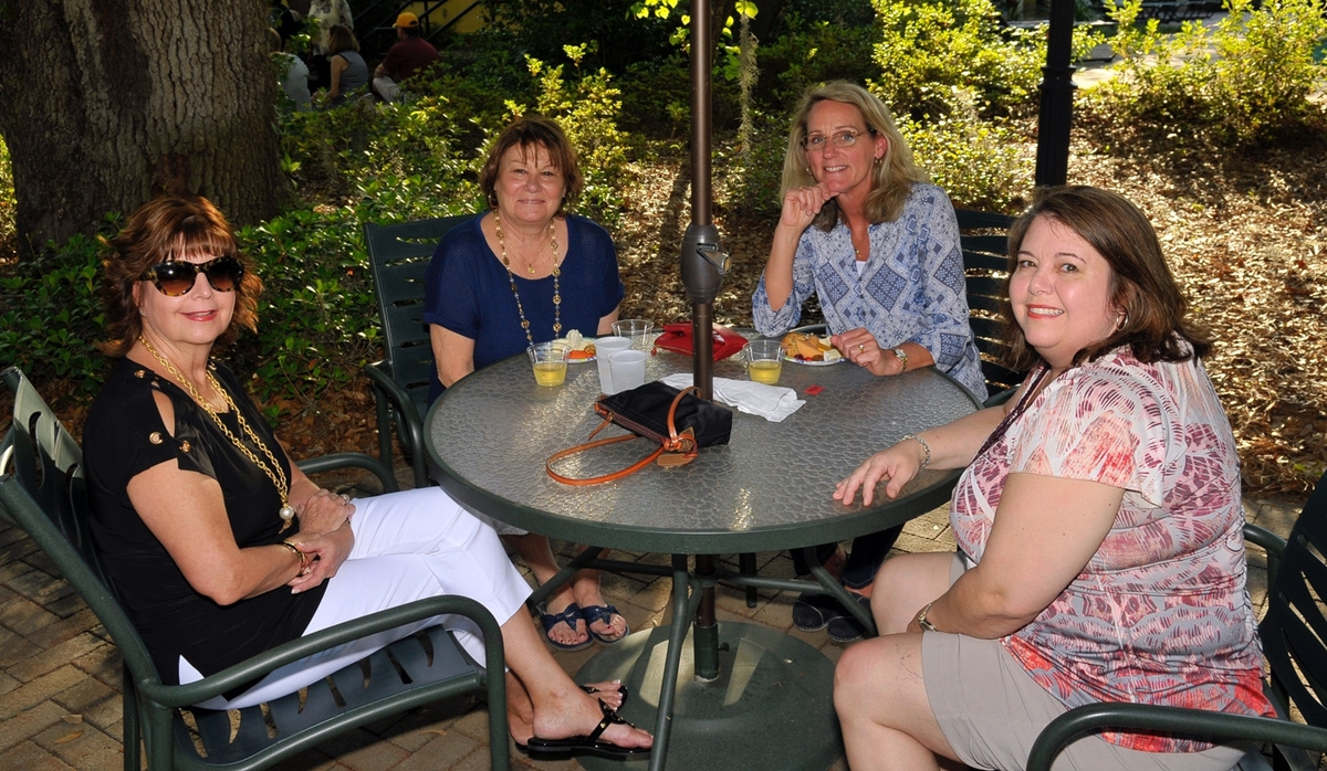 Some of the guests at Island Girls Night Out enjoyed their refreshments on the patio at Celadon.