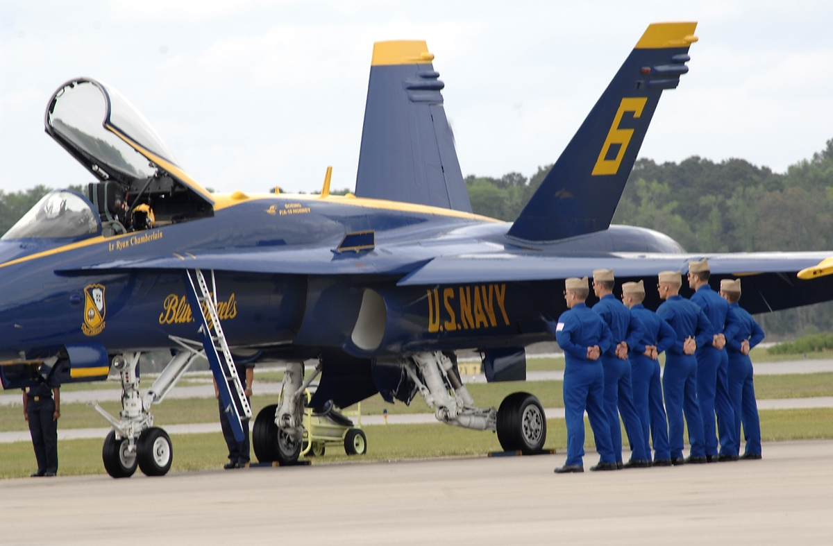 The United States Naval Flight Demonstration Team, the Blue Angels, shows off naval aviation at its best. Photo by Bob Sofaly.