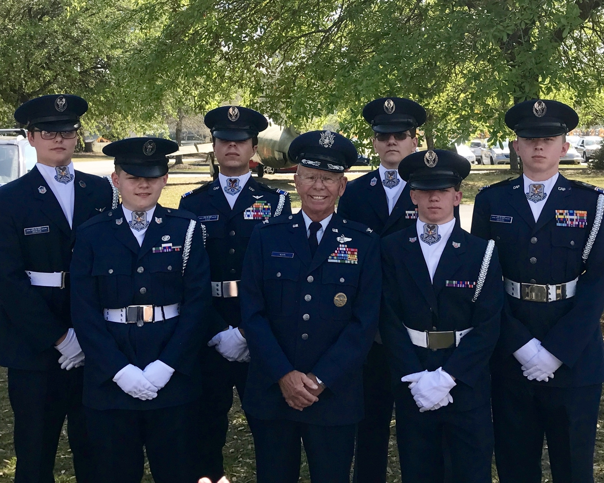 The Low Country Civil Air Patrol cadets who served as pallbearers wore a unique Honor Guard uniform with an ascot, officer's cap and gloves when they handled the casket of Capt. Schlegel. Photo provided.