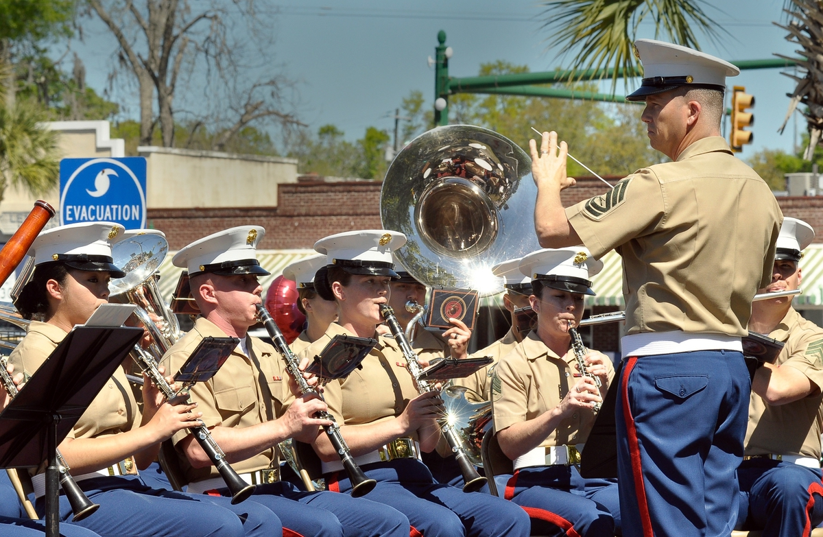 """The Parris Island Marine Band opened last Saturday's event with the Star Spangled Banner while the Sun City Color Guard """"posted the colors"""" during the 75th anniversary celebration of the end of World War II at the Morris Center for Lowcountry Heritage in Ridgeland."""