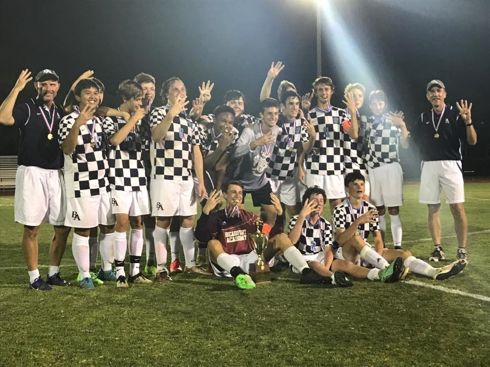 The Beaufort Academy boys' soccer team captured its fourth straight SCISA Class A state championship on May 12. Photo courtesy of Beaufort Academy.