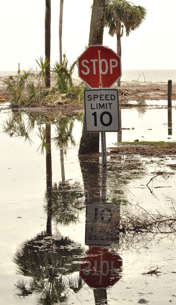 Not that there is anywhere to drive, but the speed limit and stop signs leading to where the oceanfront campgrounds were are still standing. The campgrounds, however, are not.