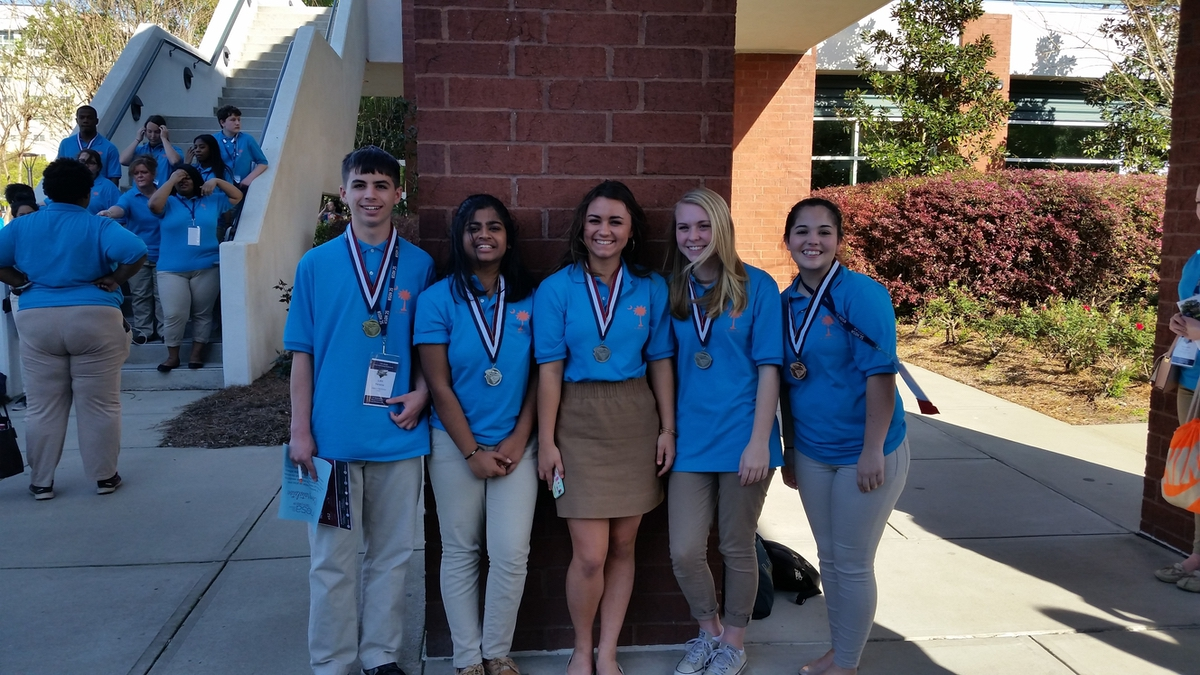 From left are HOSA medal winners Luke Heneise, Nishta Ramasamy, Sarah McMullen, Marah Aulabaugh and Tiffany Camputaro. Not pictured is Olivia Vyge.