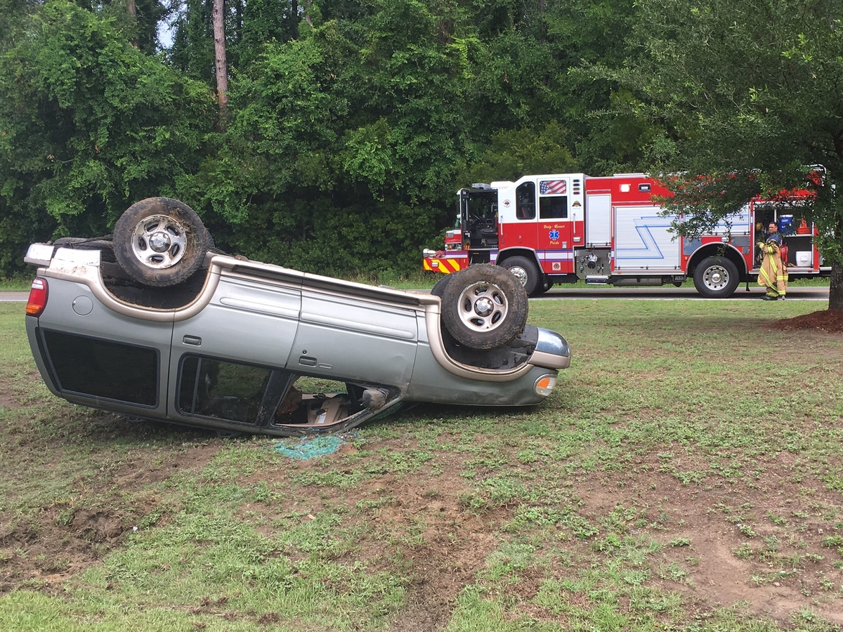 This rollover too place on the Broad River Bridge. Photo provided.