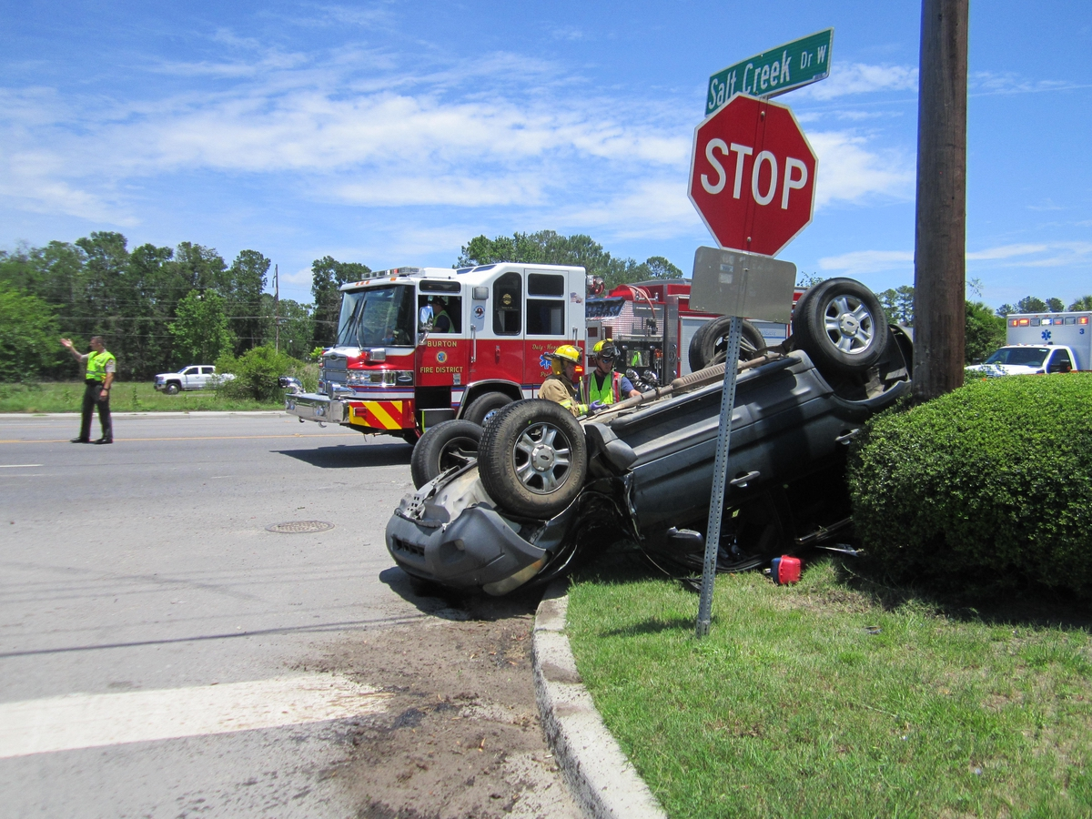 This rollover took place at Trask Parkway and Salt Creek Drive West. Photo provided.
