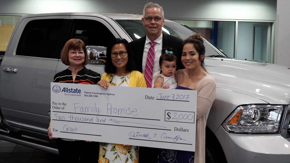 From left are Family Promise Executive Director Lynda Halpern, Jeannie Cunningham, Pat Cunningham and Kathleen Cunningham (holding little Lana). Photo provided.