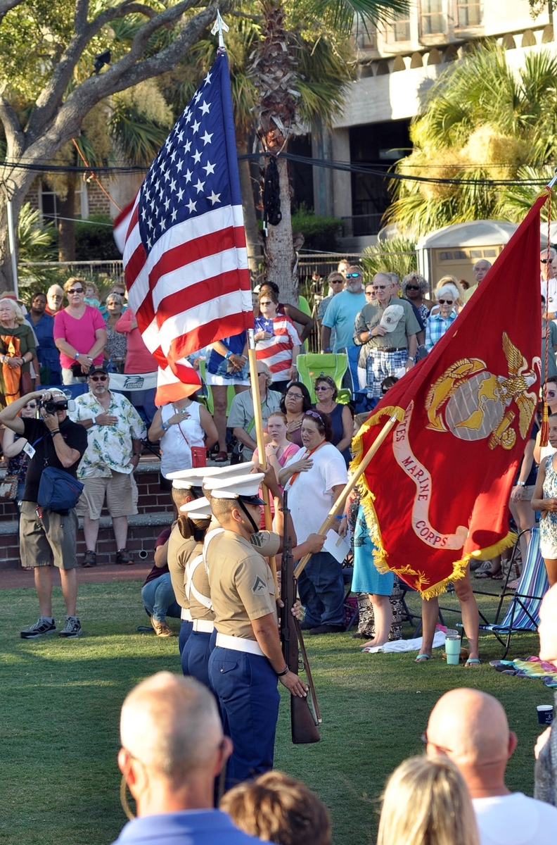 The Marine Corps Color Guard officially opens the 62nd annual 2017 Beaufort Water Festival on July 14 at Henry C. Chambers Waterfront Park.