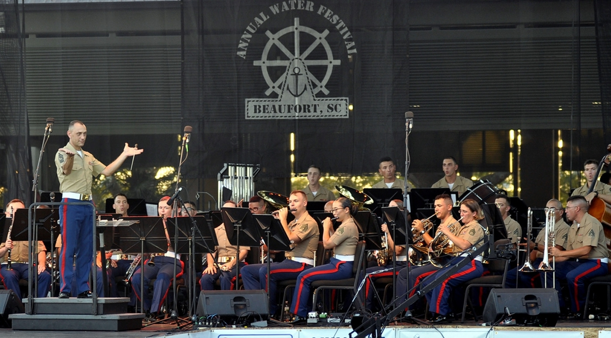 Master Sgt. Daniel Sullivan of the Parris Island Marine Band perform at the 62nd Beaufort Water Festival's opening night.