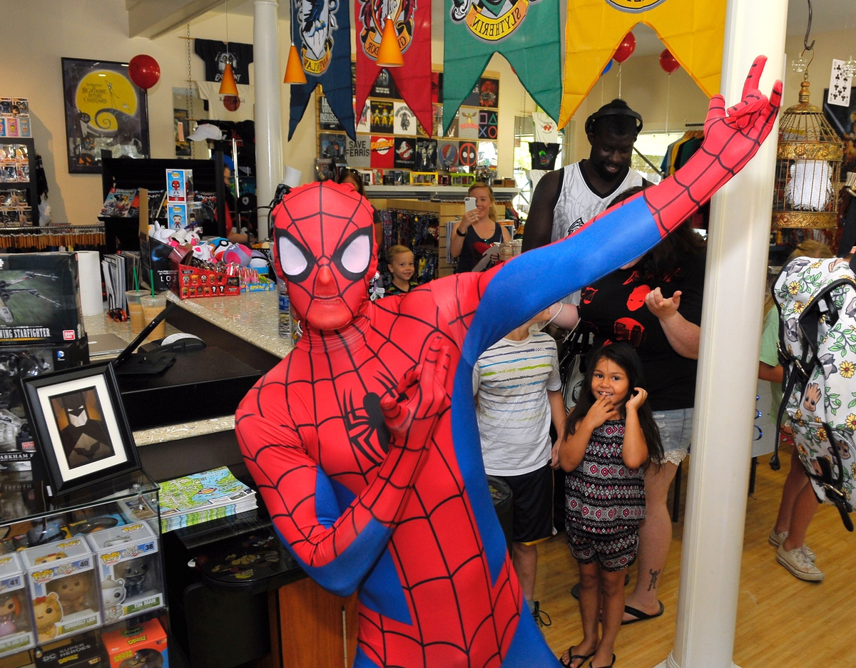 Marvel Comics' Spiderman strikes a pose for the cameras on July 8 at Flashback Gear on Scott Street.