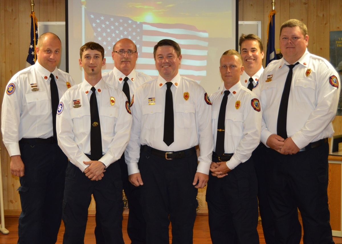 From left are Brian Wagner, Ethan Webb, John Perry, John Ireland, Chris Lewis, Daniel Byrne and Justin Blankenship.