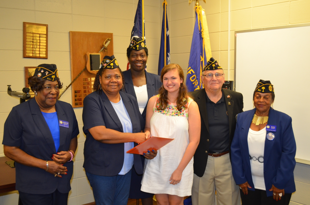 From left are American Legion Post 207 Auxiliarians Jamesetta Inabinett, Ernestine Norman, Kim Holms and Alice Gaskins joining Chuck Lurey of Post 9 to congratulate May Harrelson for attending Palmetto Girls State Encampment.