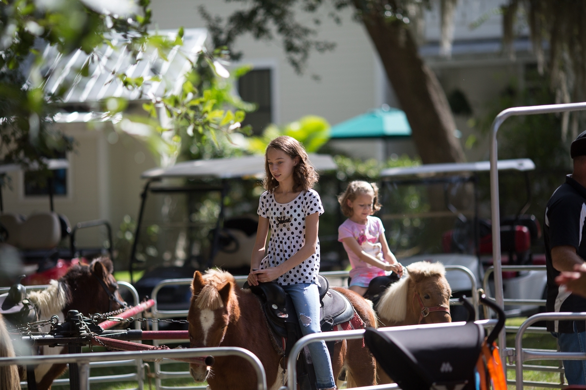 Kids take pony rides at the Annual Habersham Harvest Festival. Photo by SK Signs & Designs.