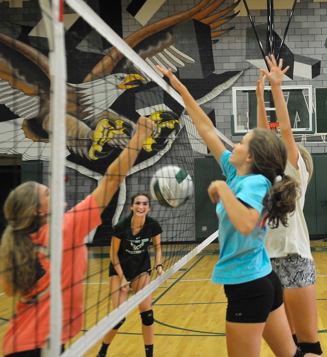 The Beaufort High School varsity volleyball team has an inter-squad scrimmage during practice Sept. 26.