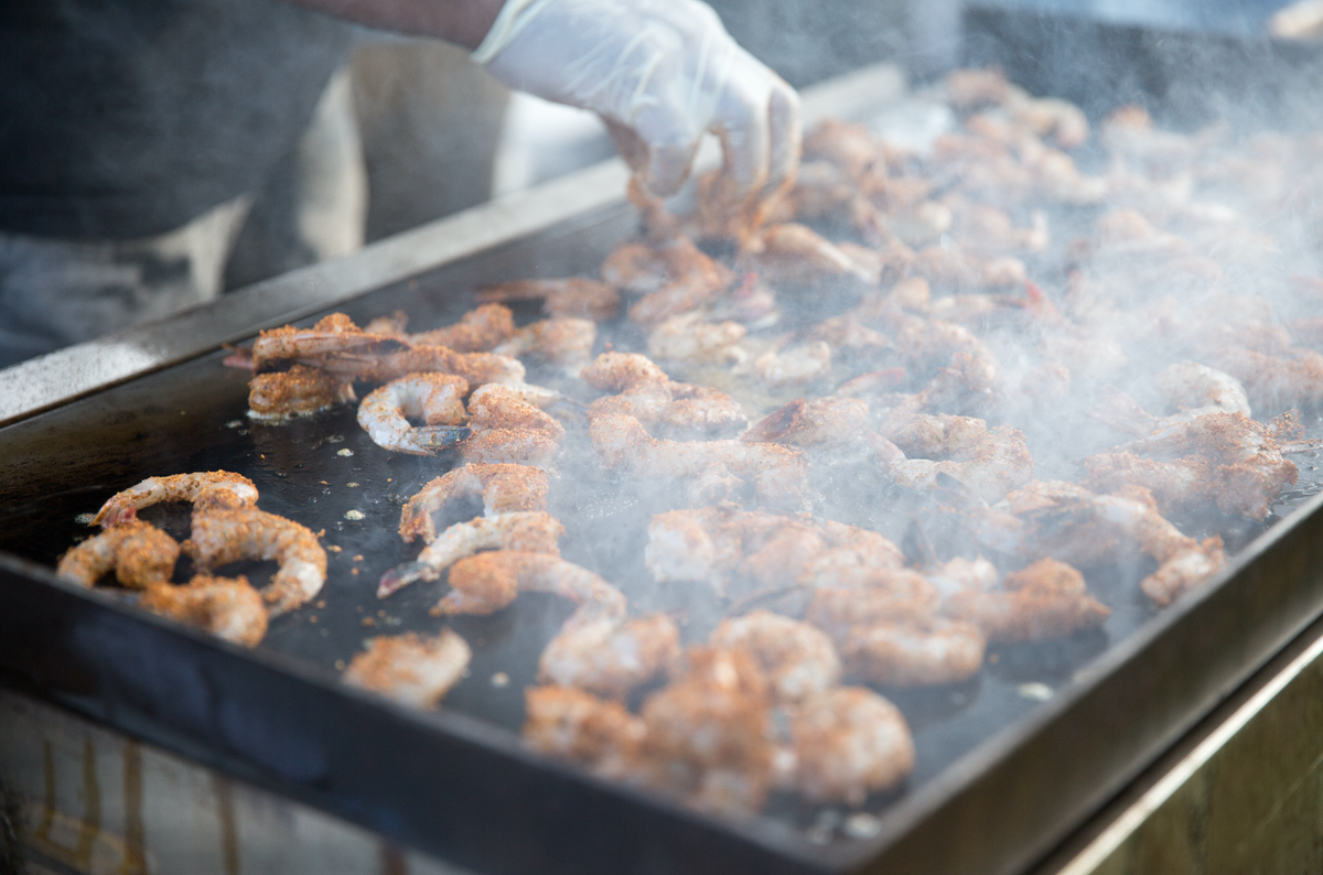 Blackened grilled shrimp was among the variety of shrimp dishes at the Beaufort Shrimp Festival.