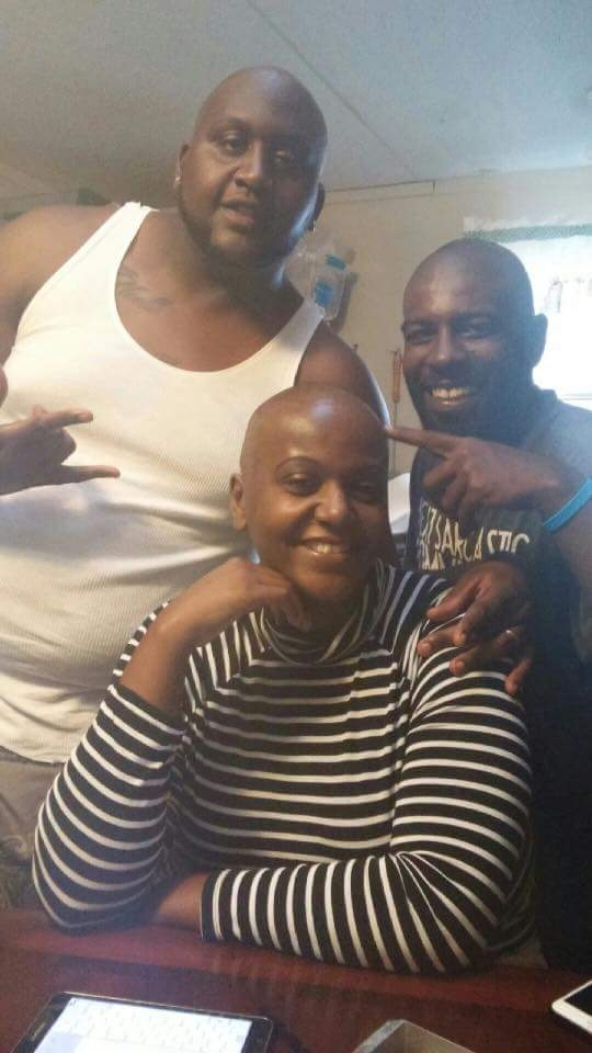 Alicia Wynn's fiancé and brother shaved their heads in solidarity. Photo provided.