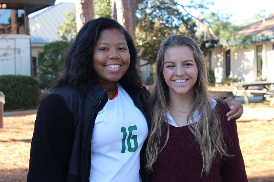 Beaufort Academy girls' tennis players Presley Jackson, right, and Jayda Scheper have been selected to the All-Class 2A Region IV Team. Photo courtesy of Beaufort Academy.