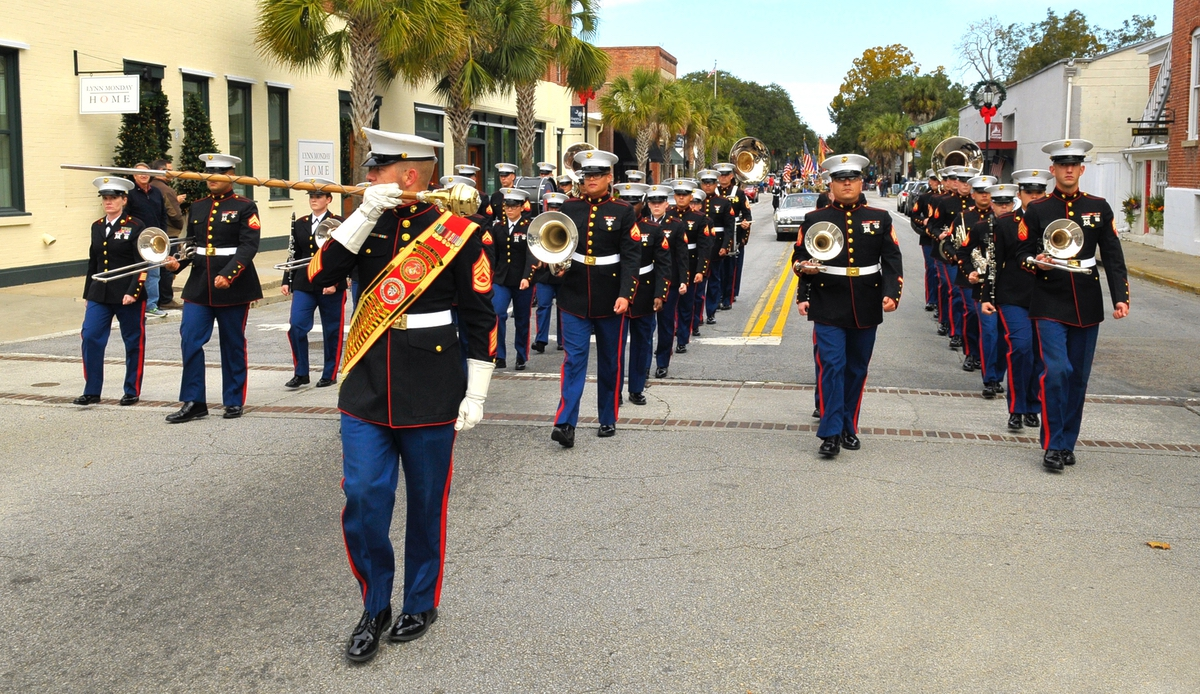 The Parris Island Marine Band leads the annual Veterans Day Parade on Nov. 11.