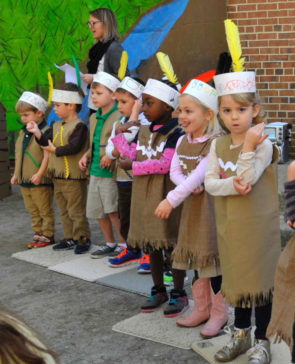 The Native Americans from Melissa Meinel's fourth-grade class helped the pilgrims by showing them how to plant corn.
