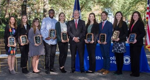 Pictured left to right are Angela Puleo, USCB; Alison Ann Lindsey, USC; Alison Phelps, Spartanburg Community College; Christopher King, Horry-Georgetown Tech; Duane Parrish, SCPRT director; Sonja Volk, Greenville Tech; Grayson Foster, Trident Tech; Hunter Gaffney, College of Charleston; Kari Mari Funk, Coastal Carolina; and Ollie Burns, Clemson.