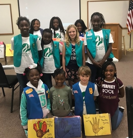 Girl Scout Rainbow Troop 4105 put together Thanksgiving dinners for those in need. Photo provided.