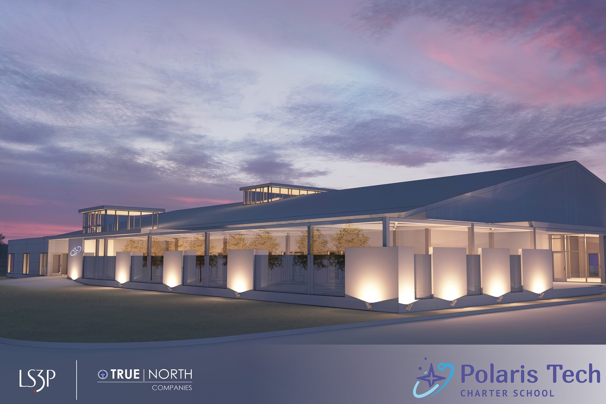 This is an architect's rendering of the entry to Polaris Tech Charter School.